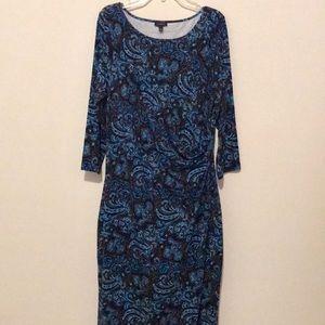 Talbots Paisley Print Faux Wrap Dress